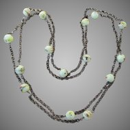 1960's Vintage Pale Lime Green Art Glass Bead Long Brass Rolo Chain Necklace