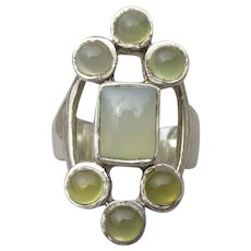 Modern Blue Chalcedony & Citrine Cabochon 1980's Sterling Silver Ring, Size 5
