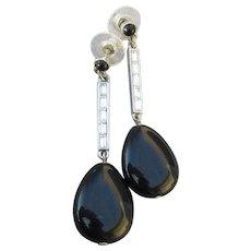 Signed Nolan Miller Vintage Black Teardrop Dangle Rhinestone Earrings