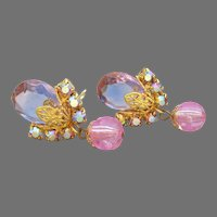 D&E JULIANA Vintage Teardrop & Pink Dangle Crystal Bead Filigree Earrings