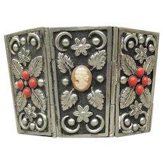 Spectacular! HUGE Coral & Cameo Alpaca Wonder Woman Wide Vintage Cuff Bracelet