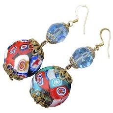 Beauty! Millefiori Venetian Art Glass & Swarovski Crystal Dangle Vintage Pierced Earrings