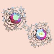 Vintage 1960's Silver Tone Floral Filigree Red AB Rhinestone Cufflinks