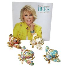 Joan Rivers Vintage Set of Four Seasons Bee Pins, Mint with Card!