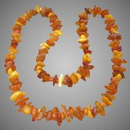 """Chunky Vintage Egg Yolk & Butterscotch Genuine Amber Nugget 30"""" Long Necklace"""