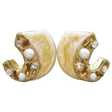 Enamel, Rhinestone, Faux Pearl 1980's Vintage Pierced Abstract Earrings, NEW Old Store Stock