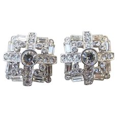 Nolan Miller Vintage Silver Tone Crystal Rhinestone WEDDING Pierced Earrings