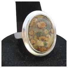 BIG Beautiful JASPER Modern Sterling Silver Vintage Ring, Size 8
