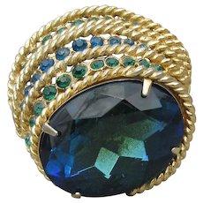 Signed COROCRAFT Large Blue & Green Vintage Modernist Rhinestone Pin