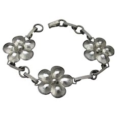 1940's Retro Sterling Silver Flower Link Bracelet