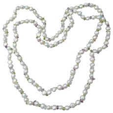 "Long 36"" Vintage Freshwater Pearl & Gemstone Chip Necklace"
