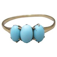 Antique Victorian 14k Gold & Persian Turquoise Ring, Size 6.5