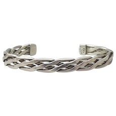 Taxco Mexico Sterling Silver Signed Vintage Braided UNISEX Cuff Bracelet