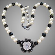 Signed Nolan Miller 1990's Faux Pearl & Black Crystal Bead Rhinestone Flower Necklace