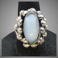 Gorgeous Big Signed BEAU Sterling Vintage Faux Blue Moonstone Adjustable Ring