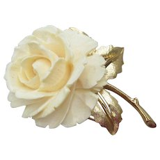Signed BOUCHER Vintage Faux Ivory Lucite ROSE Pin