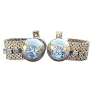 1960's Vintage Mid-Century Baby Blue Rhinestone Silver Tone Mesh Cufflinks Cuff Links