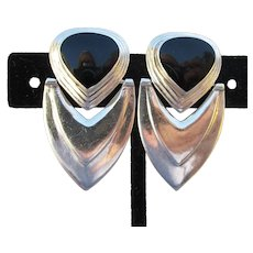 Large 1970's Art Deco Revival Vintage Sterling Silver & Black Onyx Pierced Earrings