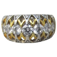 Signed VERRAGIO Sterling Silver & Vermeil CZ Wedding Band Ring, Size 6
