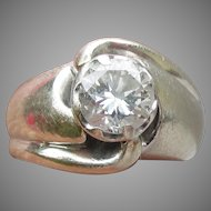 Old European Cut 1 Carat Diamond Mid-Century Modern 14k White Gold Ring