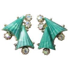 Unusual Fan Shaped Vintage Green Thermoset Lucite & AB Rhinestone Earrings