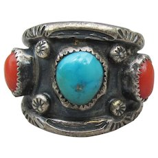 Early Navajo Native American Turquoise & Coral Sterling Silver Wide Band Ring, Size 6