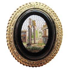 18k Gold Antique Italy Grand Tour Roman Forum Micro Mosaic Pin