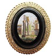 RARE 18k Gold Antique Roman Forum Micro Mosaic Pin