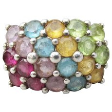 Rainbow Gemstone Vintage 4 Row Sterling Silver Wide Band Ring, Size 8