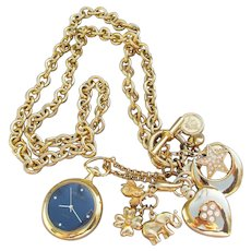 Joan Rivers Vintage 1990's Pendant Watch & Interchangeable Charms Long Necklace