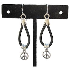 Hand-Made Artisan Leather PEACE Sign Dangle Sterling Earrings