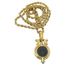 Tova Beverly Hills 1990's Vintage Etruscan Perfume Locket Necklace