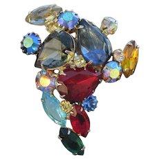 Unsigned WEISS Big Jewel Tone Pear Rhinestone Pin