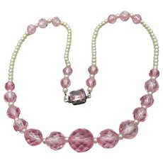 1920's Vintage Pink Czech Crystal & Faux Pearl Sterling Silver Flapper Necklace