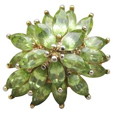 Gorgeous Peridot Sterling Silver Vermeil BIG Flower Cluster Vintage Ring, Size 7