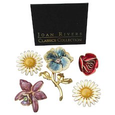 Joan Rivers Vintage Interchangeable Enamel FLOWERS Pin, Rose, Daisy, Pansy, Orchid