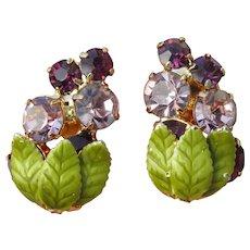 HOBE' Vintage 1960's Grape Bunch Rhinestone & Enamel Earrings