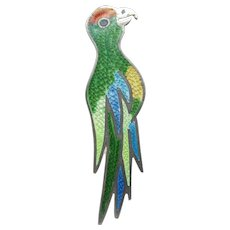 Vibrant Jose Federico Vintage Taxco Sterling Enamel Parrot Pin