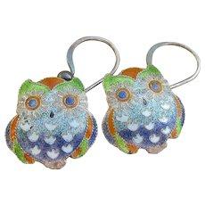 CUTE Vintage Sterling Silver Guilloche Enamel OWL Dangle Pierced Earrings