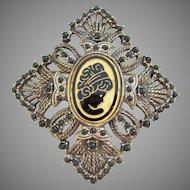 Large Vintage Intaglio Black & Gold Glass Cameo Pin Pendant