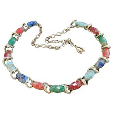 Bright Multi-Color Venetian Glass Cabochon Vintage Choker Necklace