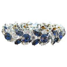 Spectacular Unsigned WEISS Vintage Sapphire Blue Rhinestone Rhodium Plated Bracelet
