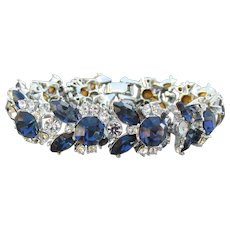 Spectacular Unsigned WEISS Vintage Sapphire Blue Rhinestone Rhodium Plated Bracelet