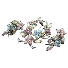 Signed FLORENZA Pastel Rhinestone FLOWER Pin & Earrings Set