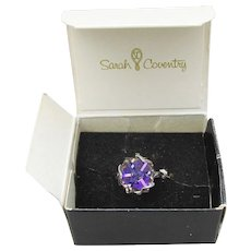 Vintage Rare Sarah Coventry Purple Crystal Cube Prism Adjustable Ring - MINT In Box!
