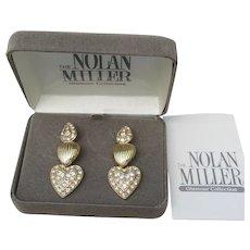 Nolan Miller Rhinestone 3 HEART Dangle Earrings, Adjustable - NEW In BOx!