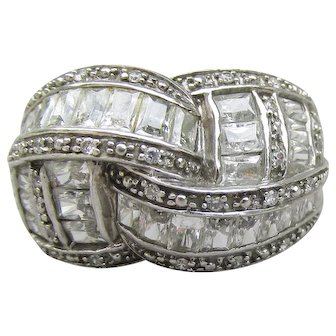 Braided Style Vintage Sterling Silver CZ Wide Band Ring, Size 6