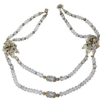 Fine Vintage Two-Strand Rock Crystal Quartz & Sterling Flower Filigree Necklace