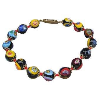 Millefiori Italian Art Glass Bead Vintage 1950's Bracelet