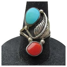 Early Navajo Native American LONG Vintage Turquoise & Coral Sterling Silver Ring, Size 6